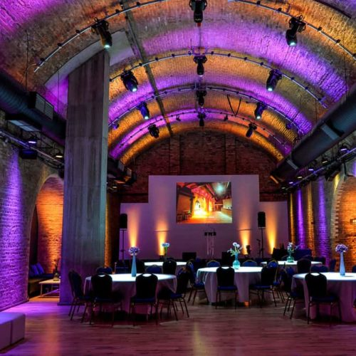 The Steel Yard arches tables event