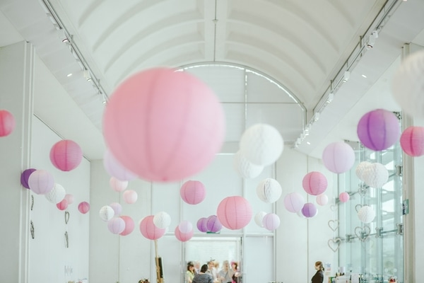 lanterns venue decor hanging pink and white