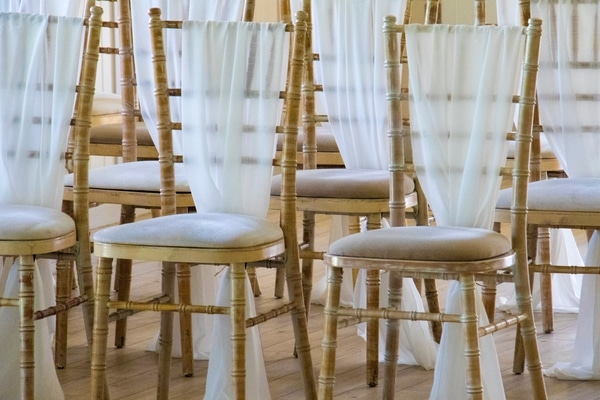 wedding chair tulle drape low-cost decoration