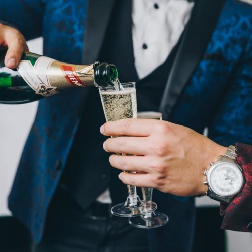 book your Christmas party now sparkling wine men